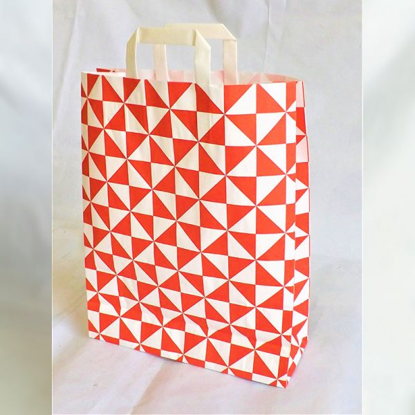 RED & WHITE STRIPED TAPE HANDLE BAG