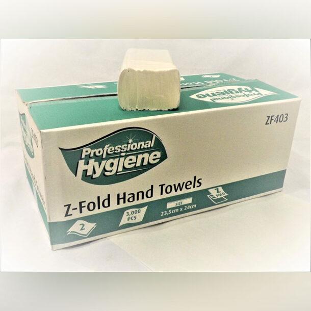 2 PLY Z FOLD HAND TOWEL WHITE